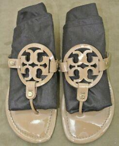 9M-TORY-BURCH-MILLER-Thong-Flip-Flop-Sandals-Flats-TT-Logo-Patent-Beige-Nude