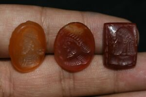 Lot Vente 3 Genuine antique Near Eastern Roman Carnéol Pierre intaglio Seals