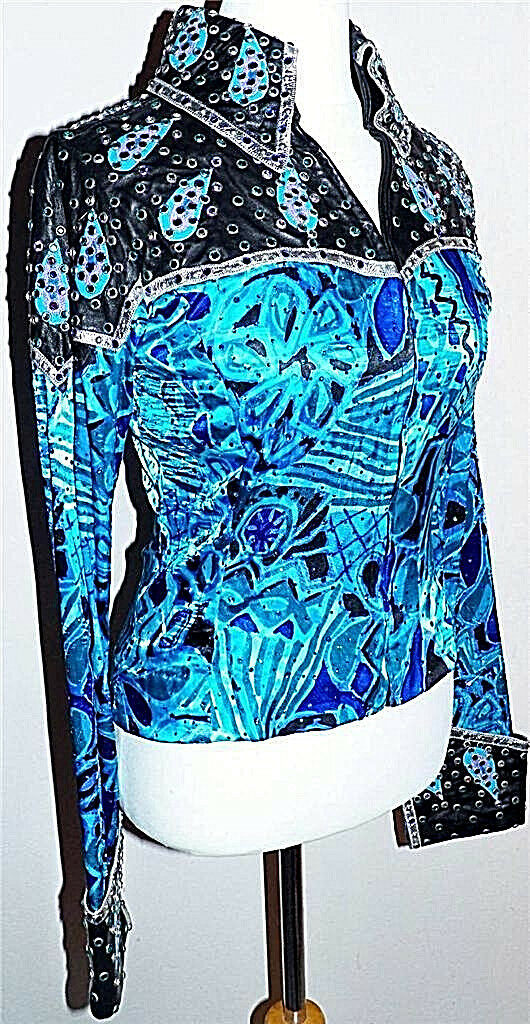 Azul no Stretch  teatralidad placer carril mostrar Chaqueta de Diamantes de Imitación de Cristal S