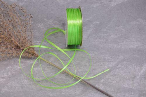 91m Rolle Satinband 3mm 0,025€//m Schleifenband Deko Band Geschenkband Hochzeit