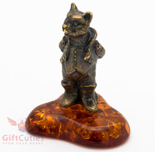Solid Brass Amber Figurine of Cat Puss in Boots IronWork Fairy tale