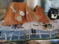 Halloween Black Cat 15 Pc Kitchen Set Tapestry Runner Pottery Jug