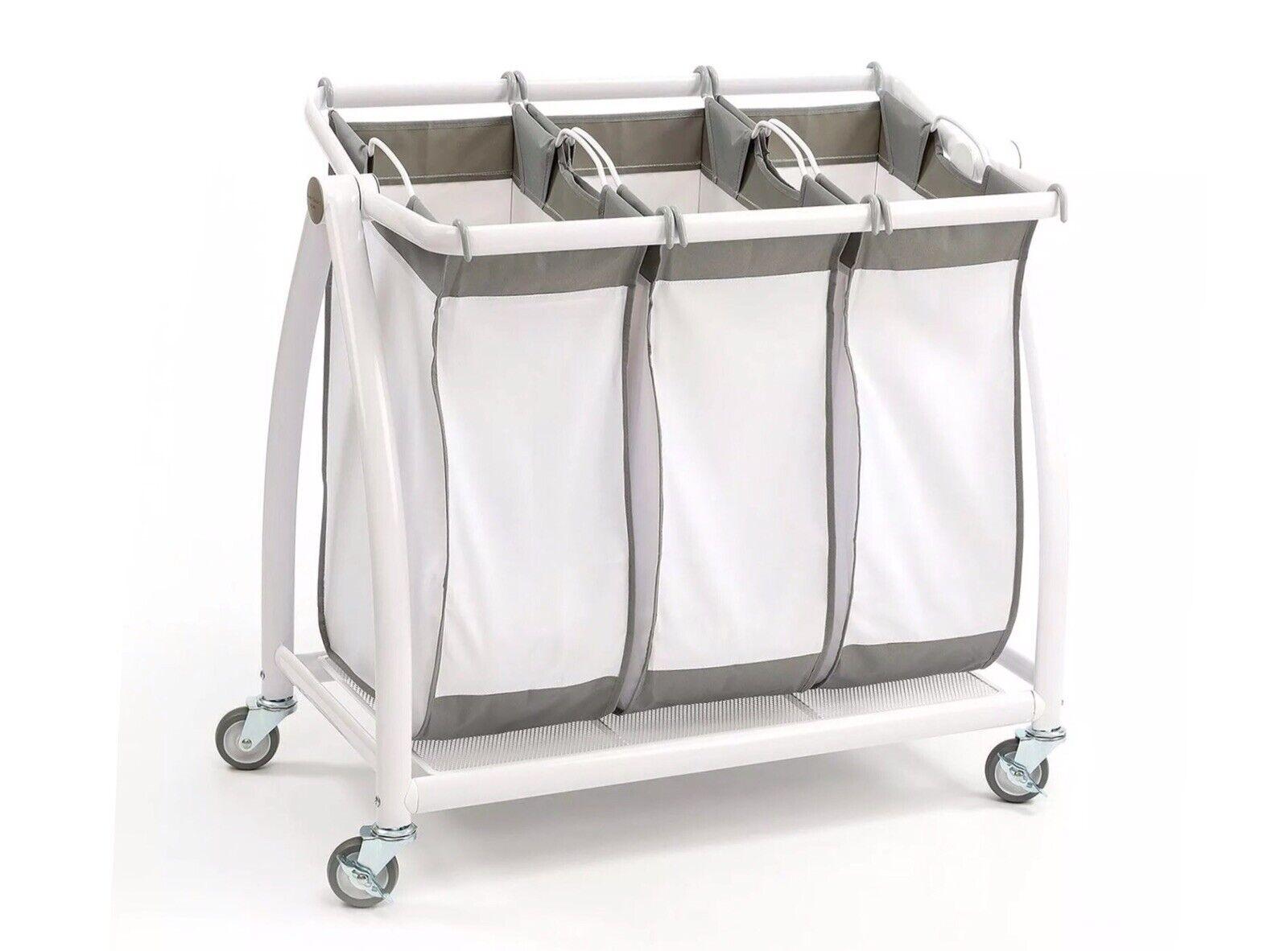 - Seville Classics 3-Bag Heavy-Duty Laundry Hamper Sorter Cart /w