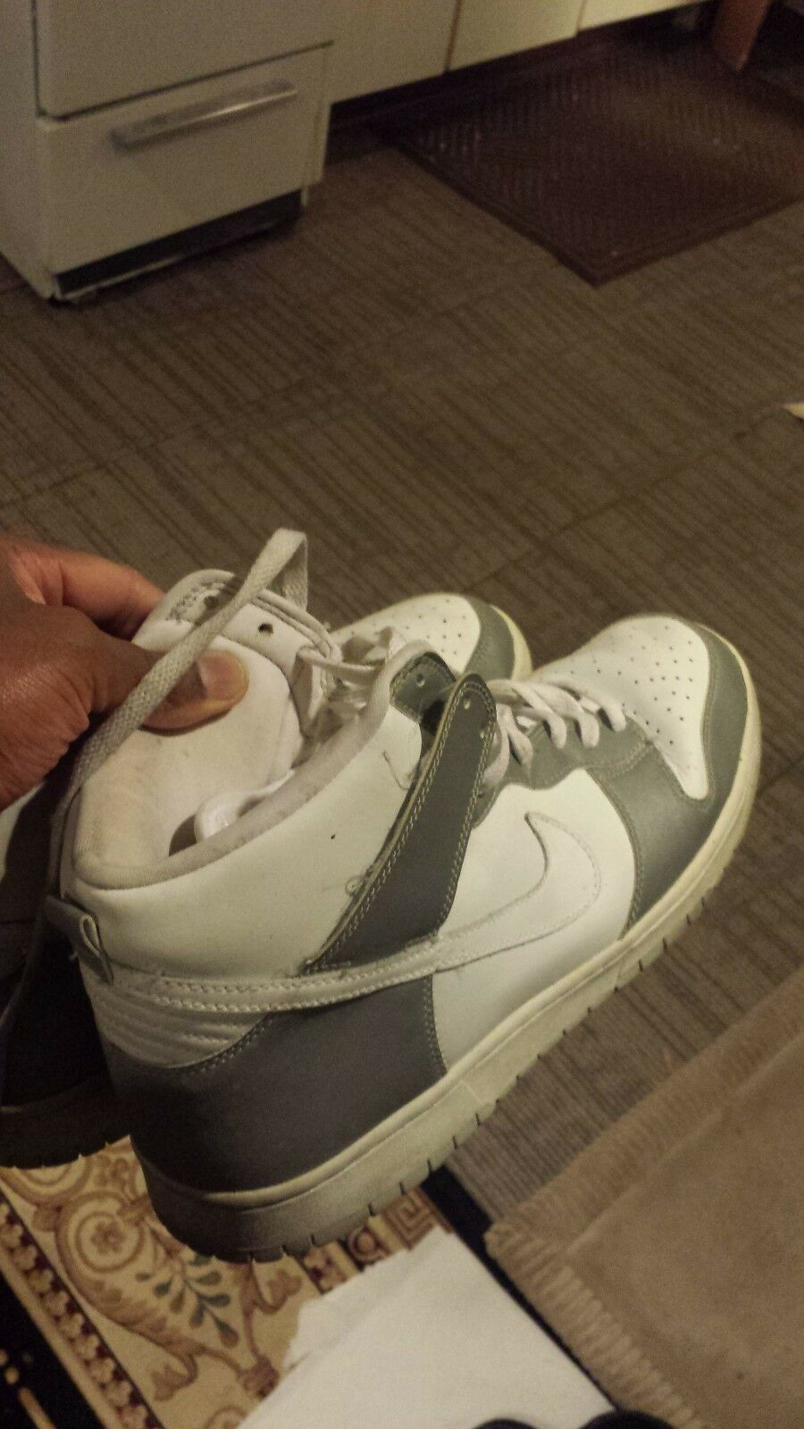 White and Silver Nike Air Force Ones Size 12