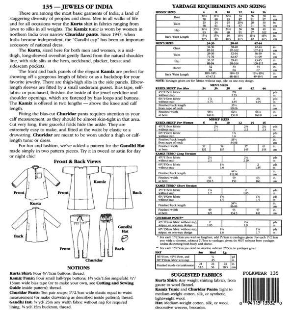Folkwear Sewing Pattern 135jewels of India Kurta Kamiz Tunic Pants ...