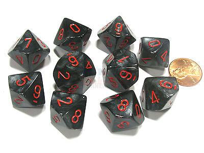 Black with Red Numbers Polyhedral 7-Die Velvet Chessex Dice Set