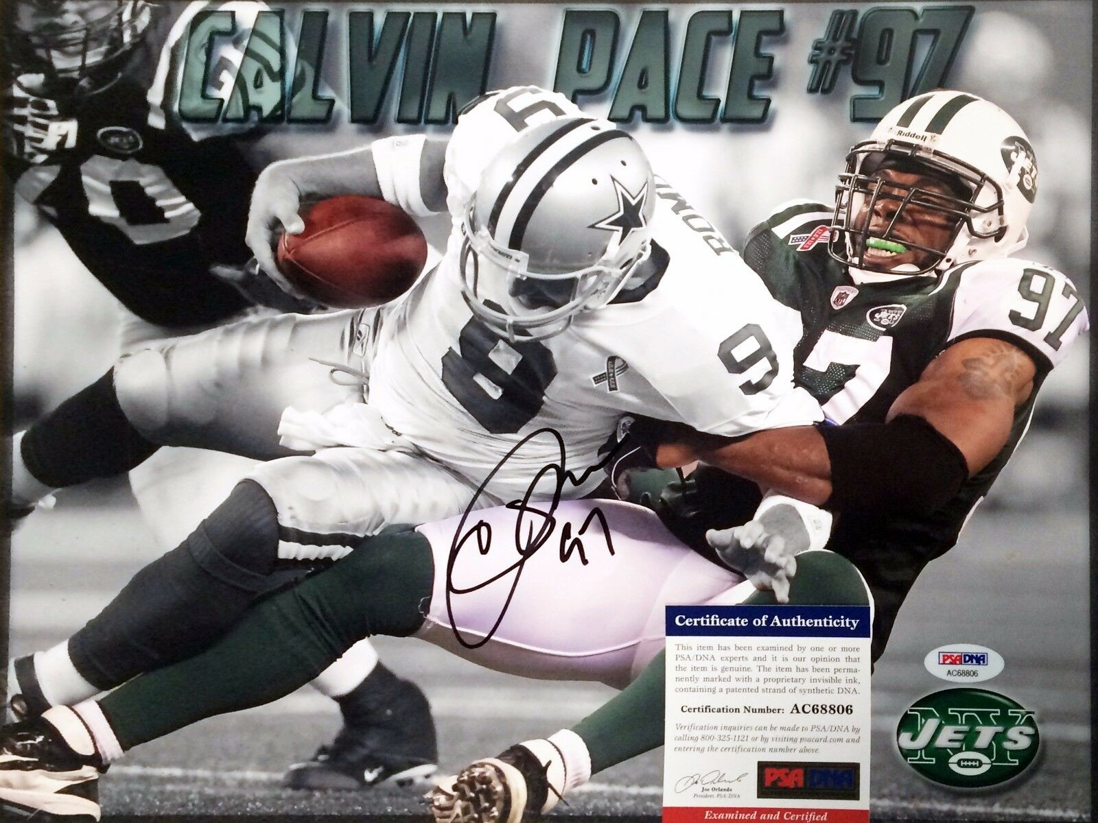 New York Jets Calvin Pace Signed 11x14 photo PSA/DNA AC68806