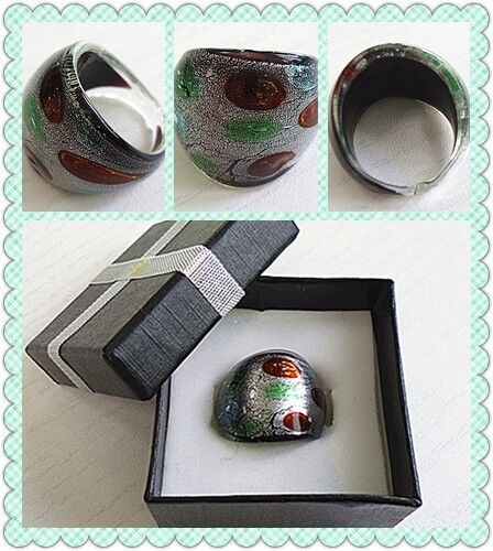glass ring various pattern AD brand new heavy ring with box free shipping to US