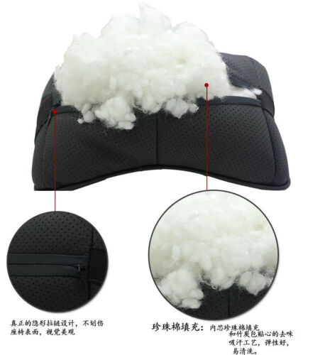 2Pcs Black Color Real Leather Car Seat Neck Pillow Car Headrest Fit For KIA Car