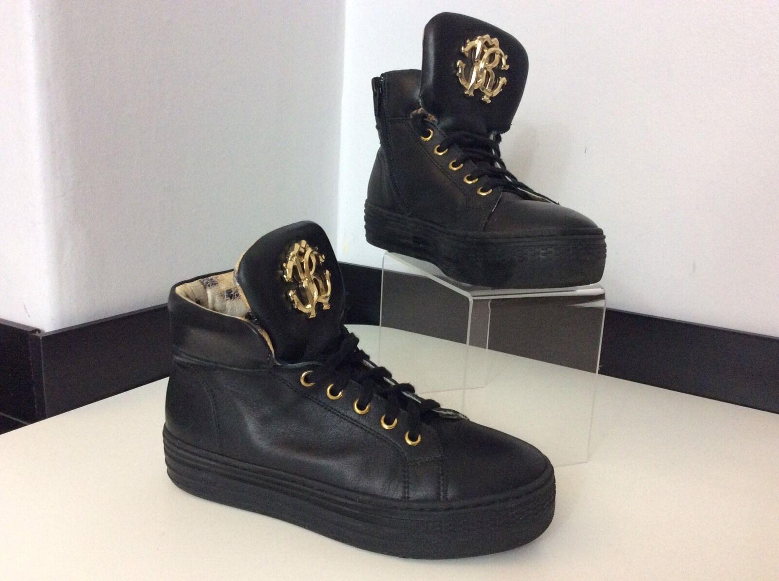 ROBERTO CAVALLI schwarz Leder Ankle Stiefel Größe 35 Hi Uk 2.5 Vgc Gold Hi 35 Tops d54ace