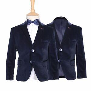 febbf2ec1 Boys Premium Navy Blue Velvet Jacket Kids Formal Wear Bow Tie Blazer ...