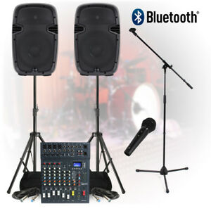 complete band live pa sound system 800w 8 ch mixer speakers dj studio rehearsal ebay. Black Bedroom Furniture Sets. Home Design Ideas