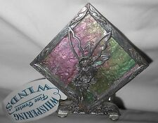 Whispering Wings Tea Light Candle Holder Fairy on Stained Glass with Pewter New