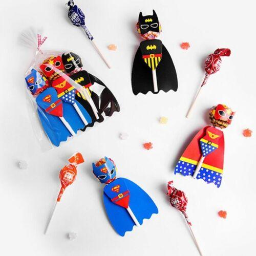 54pcs Superman Batman Candy Lollipop Decoration Cards Kids Birthday Party