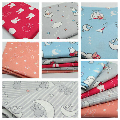 Blue Bed Sleep Time MIFFY Print Fabric Material COTTON Crafts Quilting Sewing 1M