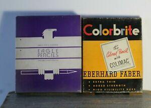 2-Vintage-Colorbrite-Eberhard-Faber-amp-Eagle-Copying-Pencils-in-Advertising-Boxes