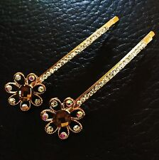 USA Quality Bobby Pin Hair Clip Hairpin Rhinestone Crystal Gold Flower Brown