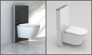 Sensor-Glas-Sanitaermodul-fuer-Wand-WC-Spuelkasten-Montageelement-Schwarz-oder-weiss