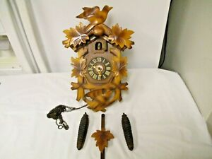 Vintage-Cuckoo-Clock-Co-W-Germany-2-Bird-Black-Forest-Clock-AS-IS-AS-SHOWN