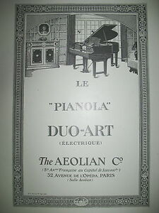 PUBLICITE-DE-PRESSE-AEOLIAN-amp-Co-PIANOLA-DUO-ART-ELECTRIQUE-FRENCH-AD-1926