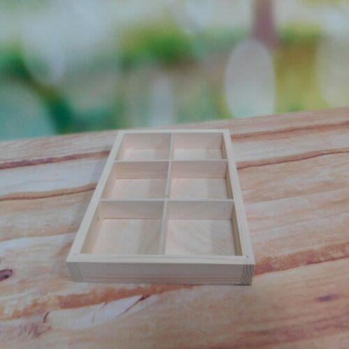 Wooden Display Shelf avec compartiments Plateau Tiroir Rangement 6 diviseurs tiroir