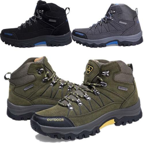 Mens Waterproof Outdoor Trainers Shoes Leather Walking High Top Hiking Boots sz