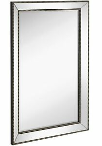 Large Framed Wall Mirror With Angled Beveled Mirror Frame And Beaded