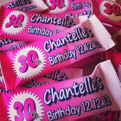 50 x Personalised Sweets 18th 21st 30th 40th 50th ANY AGE Birthday Party Favour