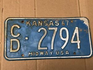 1967-Kansas-License-Plate-2794-Cloud-County-Original-Midway-USA-Plates-67