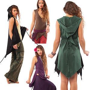 Organic-Cotton-Pixie-Wrap-Top-Psy-Trance-Clothing-Pixie-Hood-Plus-Size-Tunic