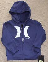 Hurley 6 Hoodie Sweatshirt Jacket Zip Fleece Boy's Blue Free Ship