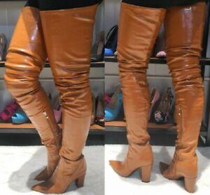 Details Boots 47 Overknee Heel 45 46 Chocolat Boots about Tall Women's Thigh Black High Block Yf7yb6g