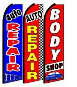 Auto Repair Brake Service King Size  Swooper Flag Sign  W//Complete 2 Full Set
