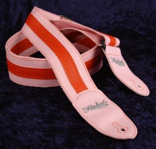 RED REBEL FANCY FAUX LEATHER GUITAR STRAP GTO SERIES PINK