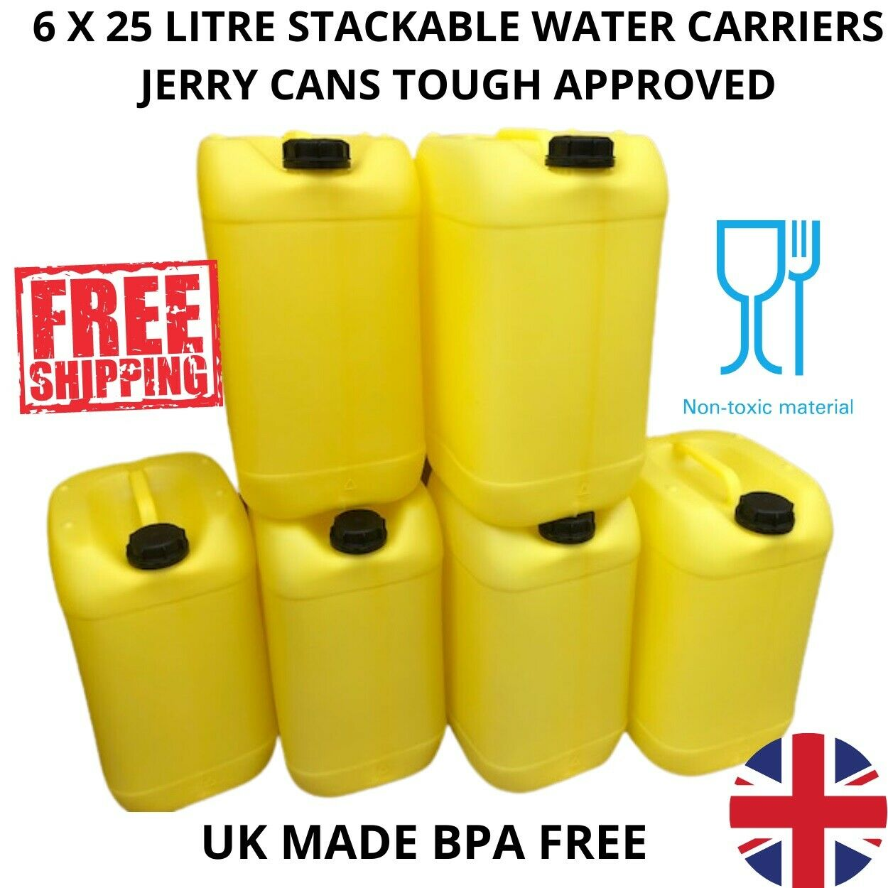6 x 25 litre plastic container water carrier yellow approved strong bpa free new