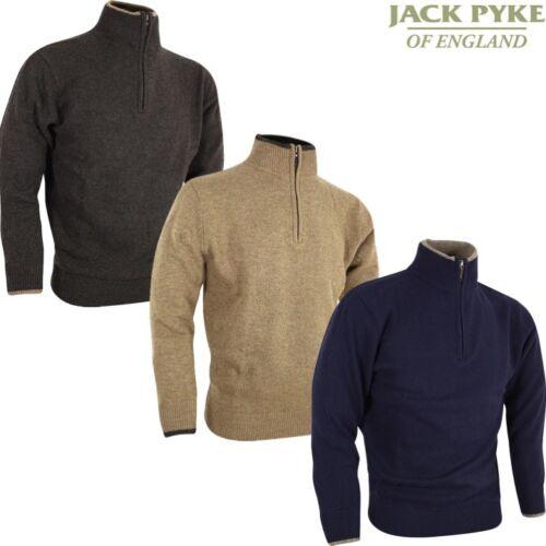 JACK PYKE ASHCOMBE 100/% LAMBSWOOL ZIP KNIT PULLOVER JUMPER MENS S-3XL SHOOTING
