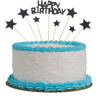 Surprising 8Ps Star Glitter Flag Banner Cake Topper Baby Shower Happy Birthday Cards Printable Opercafe Filternl