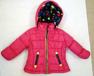 Girls-London-Fog-Puffer-Jacket-Coat-Hood-Pink-Size-18-months