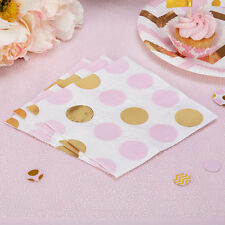 16 x papel de lunares rosa y dorado Servilleta Baby Shower Tea Party Gallina Fiesta Boda