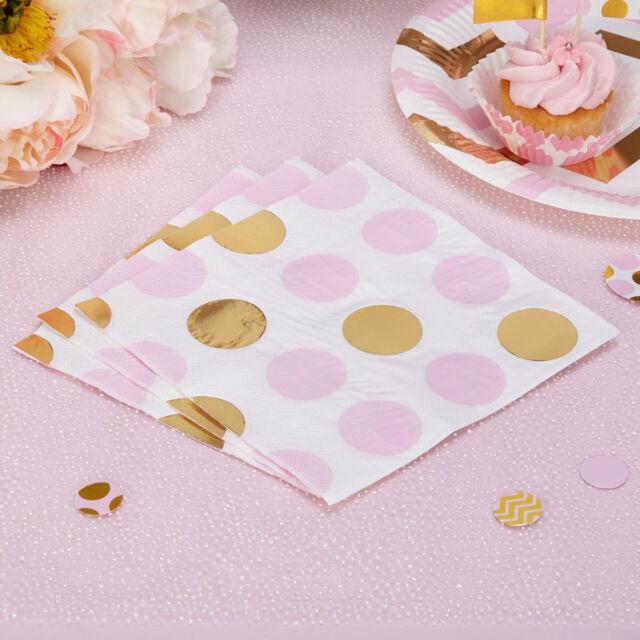 16 x Rosa & Oro a Pois Carta Tovagliolo Baby Shower Tea Party Addio Al Nubilato