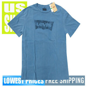 Levi-039-s-Strauss-Men-039-s-New-W-Tags-D-Blue-Faded-Tab-Logo-Print-T-Shirt-LARGE