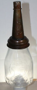 TEXACO T STAR 1 PINT MOTOR OIL BOTTLE EMBOSSED WITH METAL SPOUT & DUST CAP Texas
