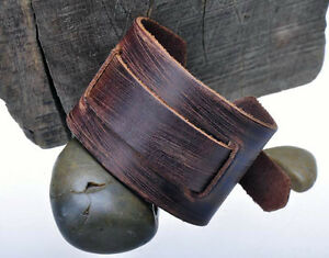 Men-039-s-Soft-amp-Thick-Wide-Genuine-Leather-Wrap-Around-Bracelet-Wristband-Brown