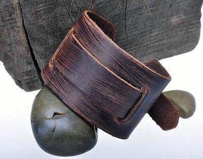 Men's Soft & Thick Wide Genuine Leather Wrap-Around Bracelet Wristband Brown