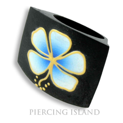 Noble Hibiscus anillo de madera de naturaleza Wood joyas azul ar126b