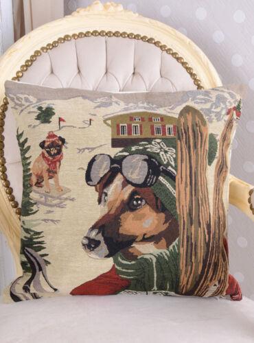 Zierkissen Skifahrer Hund Kissen Mops Dekokissen Gobelin Kissenhülle Kissenbezug