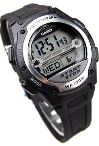 W-756-1A-Black-Casio-Men-039-s-Watch-Resin-Band-100M-Alarm-Digital-World-Time-Light