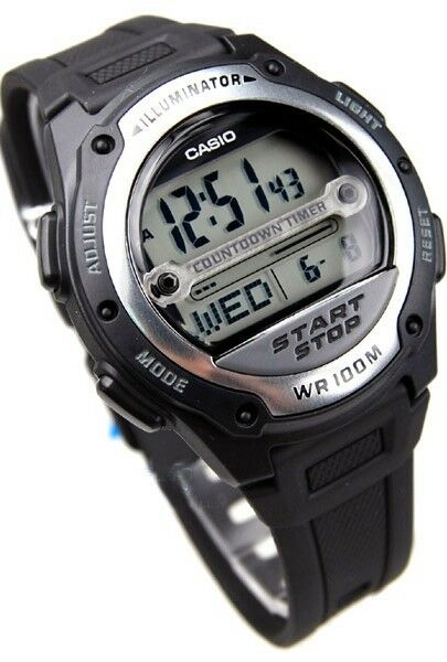 W-756-1A Black Casio Men's Watch Resin Band 100M Alarm Digital World Time Light