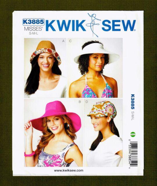Misses Hats & Cap Sewing Pattern~4 Variations! (Sizes S, M, L) Kwik Sew 3885