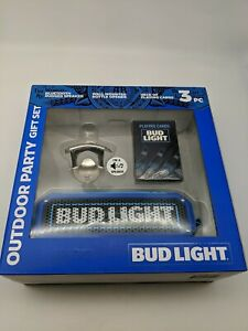 New Bud Light Beer Outdoor Party Gift Set BlueTooth Rugged Speaker Playing Cards